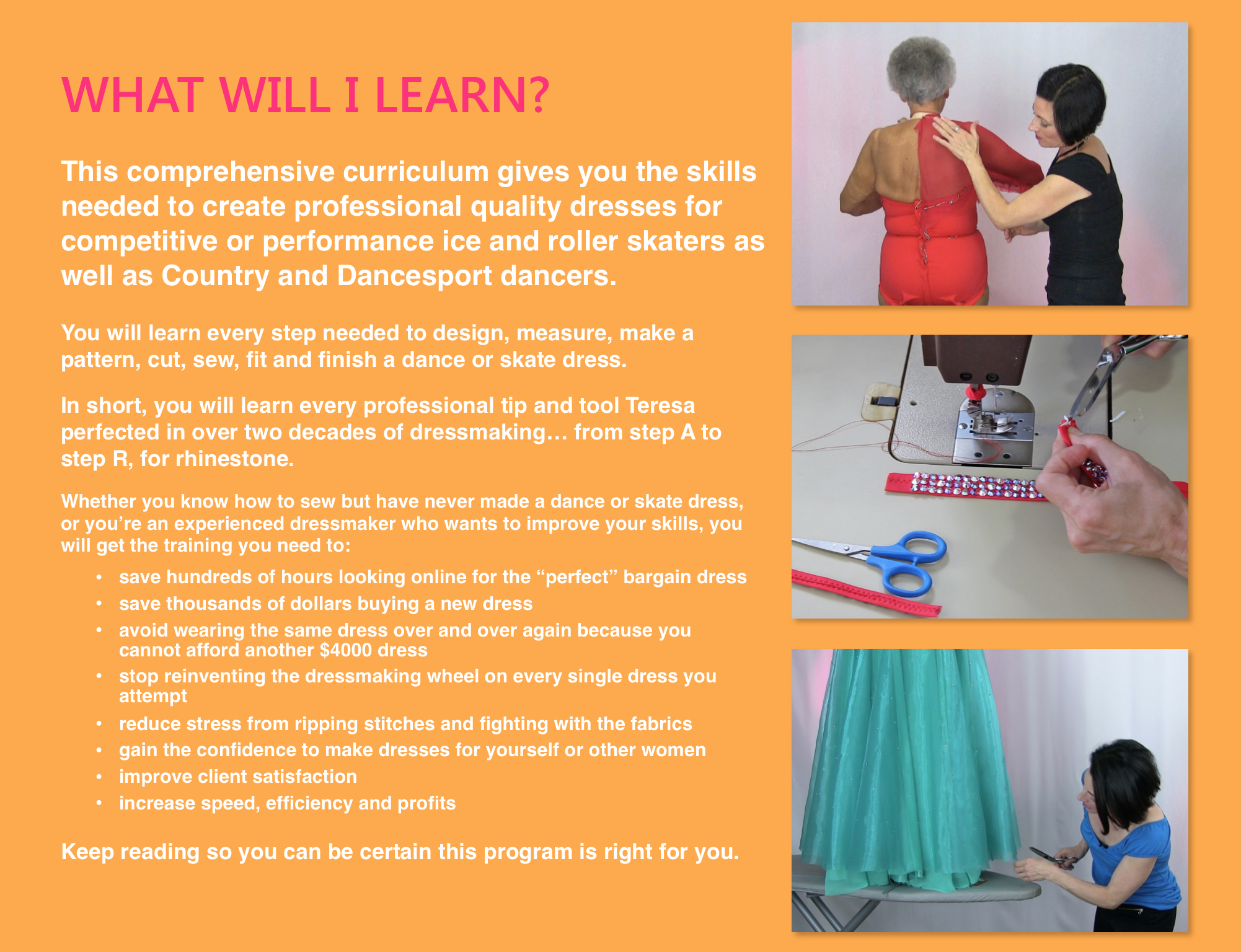 SEW LIKE A PRO™ training series, teaching YOU to make professional quality dance and skate costumes