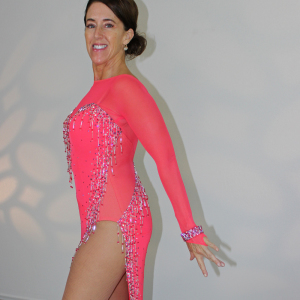 accent cut-aways, mesh inserts on leotard or dress for Dancesport, Ballroom, Latin, Country, Skate dresses