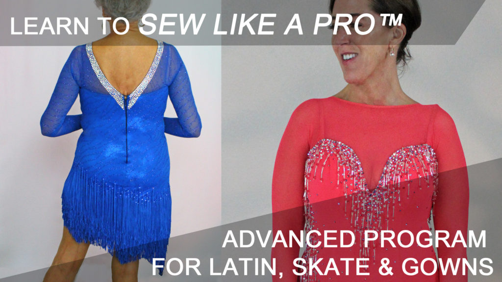 How to make a competition ballgown, Latin, Country, skate dress. Get comprehensive training on working with mesh, skirt yokes, fringe, rhinestones.